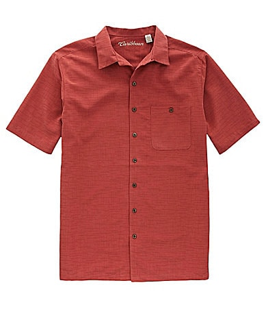 Caribbean Big & Tall Crosshatch Jacquard Sportshirt