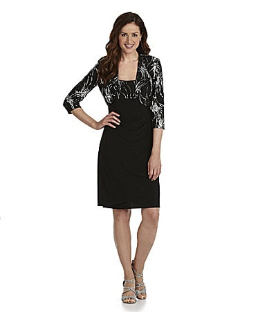 Alex Evenings Petites Sequin Bolero Jacket Dress