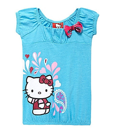 Hello Kitty 2T-6X 3D Bow and Screenprint Top