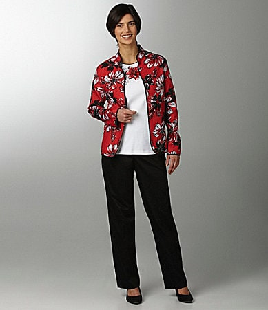 Samantha Grey Floral-Print Jacket, Floral-Applique Yoke Knit Top & Pants