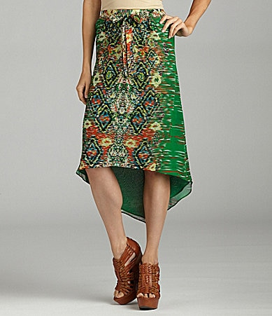 ECI Tribal-Print Hi-Low Skirt