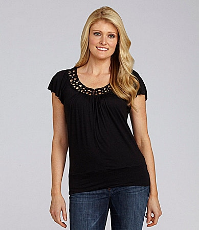 I.N. Studio Bead-Trim Scoopneck Top