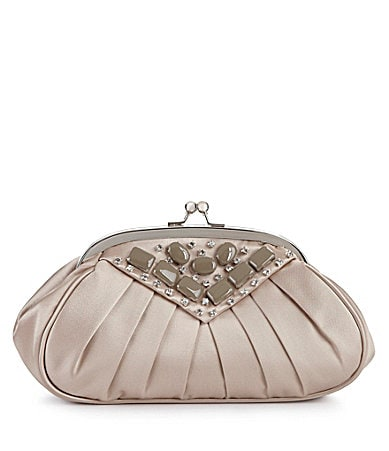 Kate Landry Social Pleated Satin Rhinestone Clutch
