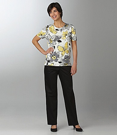 Samantha Grey Floral-Butterfly Knit Top & Flat Front Pants