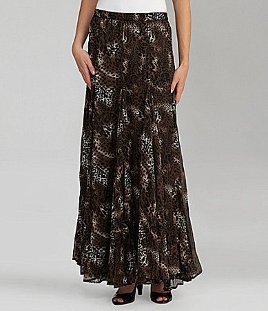 Chelsea & Theodore Animal-Print Maxi Skirt