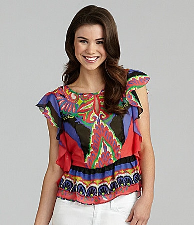 Rampage Printed Fly Away Top