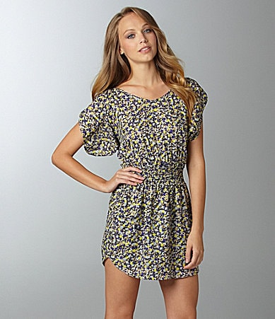 BCBGeneration Shirred-Shoulder Print Dress