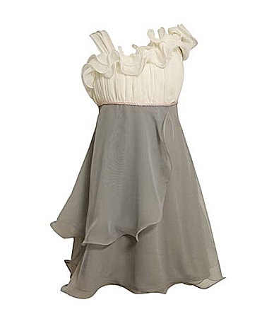Bonnie Jean 7-16 One-Shoulder Ruffled Chiffon Dress
