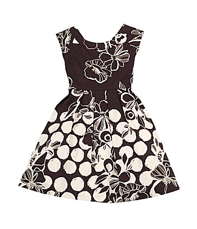 Rare Editions 7-16 Floral/Dot Dress