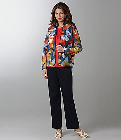 Samantha Grey Printed Batik Jacket, Soutache Embroidered Knit Top & Stretch Twill Pants