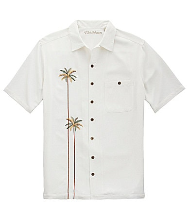 Caribbean Big & Tall Embroidered Palm Tree Shirt