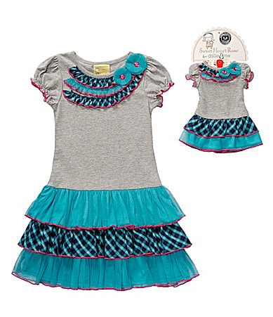 Sweet Heart Rose for Dollie & Me 2T-10 Tiered Drop Waist Dress