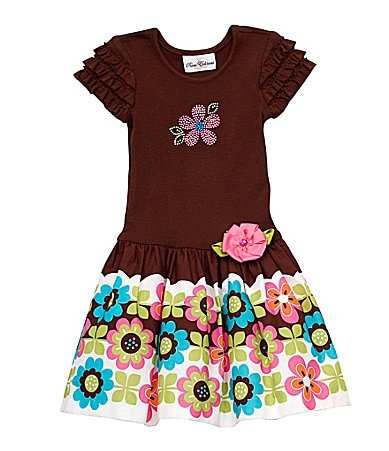 Rare Editions Toddler Flower Printed Drop-Waist Dress