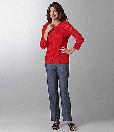 Samantha Grey Crochet Solid Sweater & Solid Chambray Pants