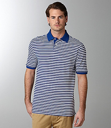 Roundtree & Yorke Trademark Stripe Polo Shirt