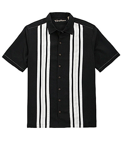 Caribbean Big & Tall Striped Front Panel Shirt