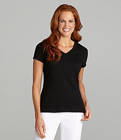Westbound Petites Double-Collar V-Neck Top