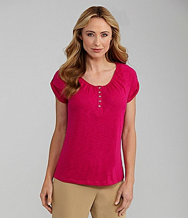 Westbound Raglan Scoop Henley Top