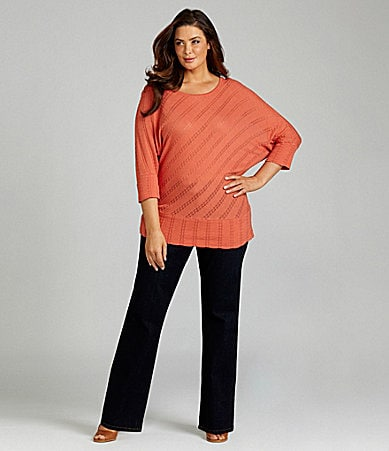 Reba Woman Knit Pointelle Sweater & Stretch Denim Pants