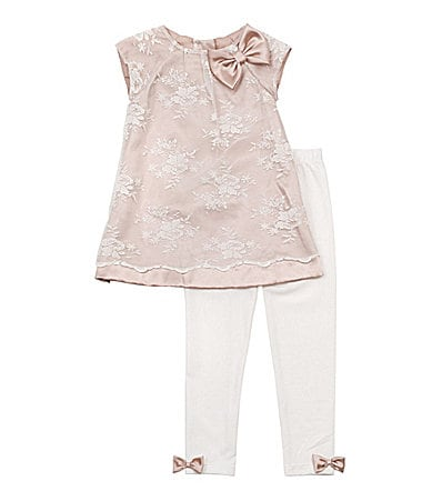 Rare Editions 2T-6X Lace Overlay Top & Leggings Set