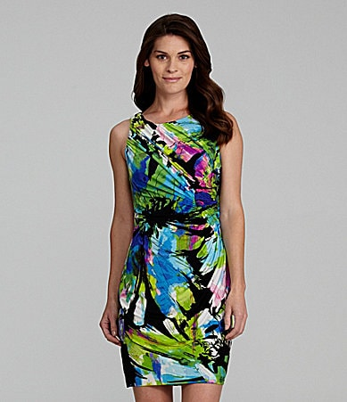 Suzi Chin Ruched Floral-Print Dress