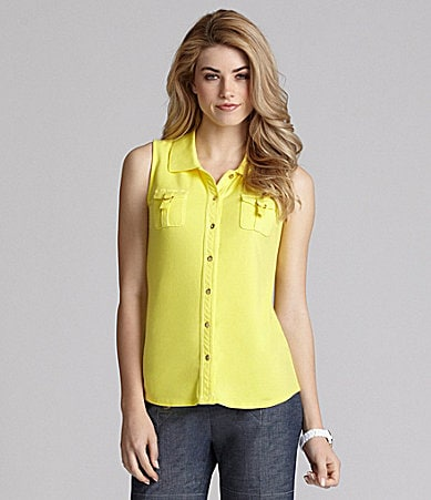 Cremieux Claudia Chest-Pocket Top