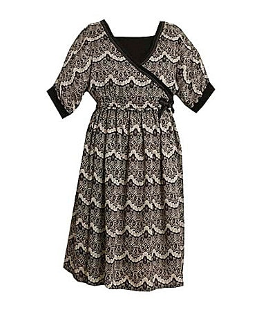 Bonnie Jean 7-16 Challis Faux-Wrap Print Dress