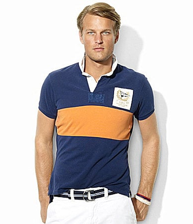 Polo Ralph Lauren Custom-Fit Mesh Pieced Rugby Polo Shirt