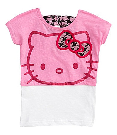 Hello Kitty 2T-6X Houndstooth Ribbon Bow Top