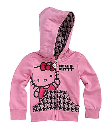 Hello Kitty 2T-6X French Terry Hooded Zip-Front Jacket