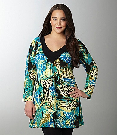 Eva Varro Woman Ruched Boa-Print Tunic