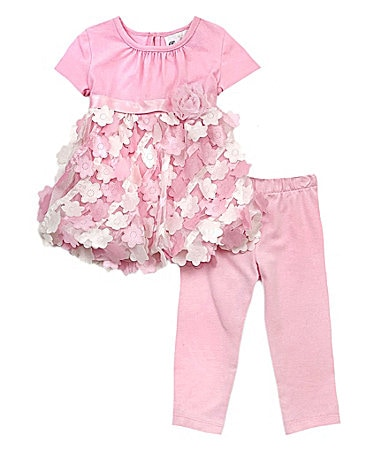 Rare Editions Newborn 3D Flower Top & Leggings Set