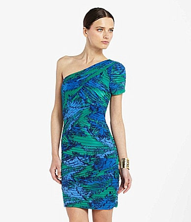 BCBGMAXAZRIA Mia One Shoulder Print Dress