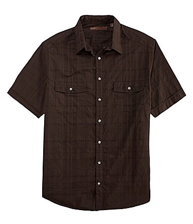Perry Ellis Big & Tall Textured Plaid Woven Shirt