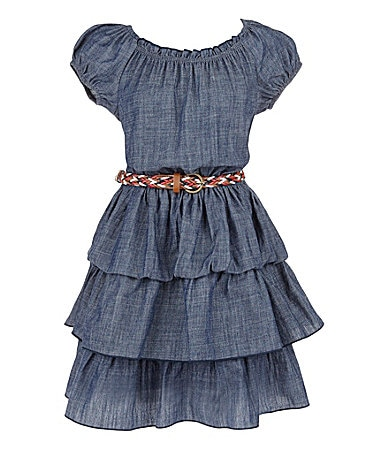 2 Hip by Wrapper 7-16 Denim Ruffled Dress