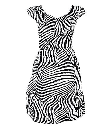 2 Hip by Wrapper 7-16 Zebra Ruffled Dress