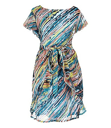 2 Hip by Wrapper 7-16 Brushstroke Print Chiffon Dress