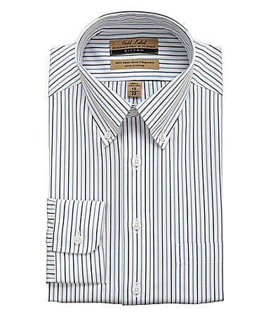 Roundtree & Yorke Gold Label Striped Fitted Dress Shirt