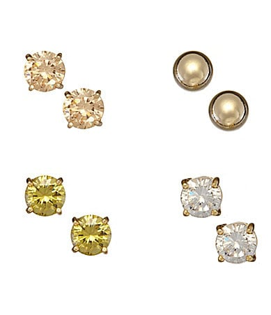 Dillard�s Sterling Collection Set of 4 Gold Stud Earrings