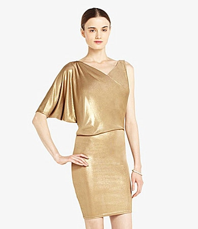BCBGMAXAZRIA Asymmetric Metallic Draped Dress