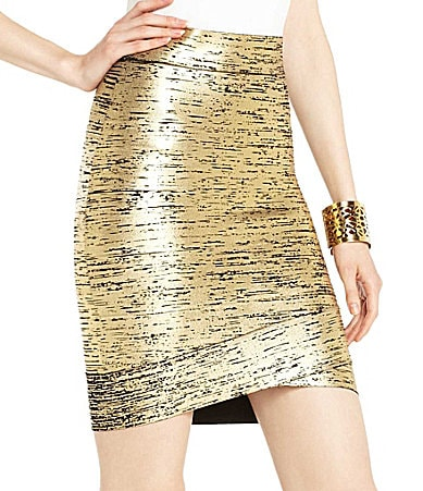BCBGMAXAZRIA Envelope Gold Foil Skirt