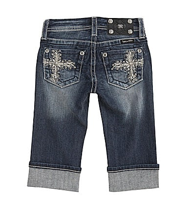 Miss Me Girls 7-16 Feathered Cross Pockets Denim Capris