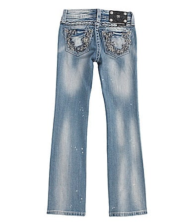 Miss Me Girls 7-16 Floral Border Pocket Denim Boot Cut Jeans