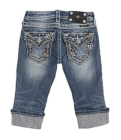 Miss Me Girls 7-16 Paradise Border Denim Capris
