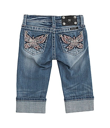 Miss Me Girls 7-16 Paradise Butterfly Pocket Cuffed Denim Capris