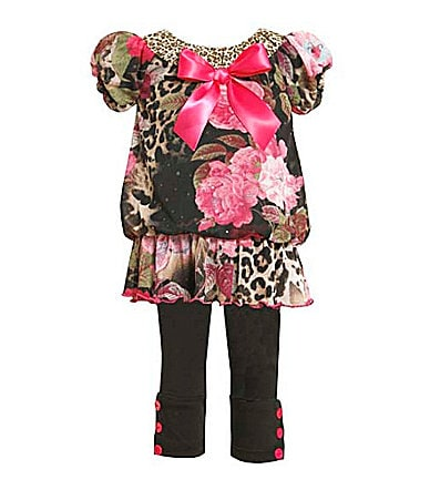 Bonnie Baby Infant Mixed-Print Chiffon Top & Leggings Set