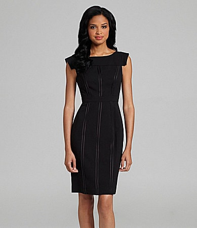Vince Camuto Seamed Extended-Shoulder Dress