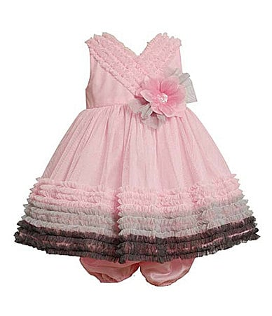 Bonnie Baby Newborn Mesh Ruffled Dress