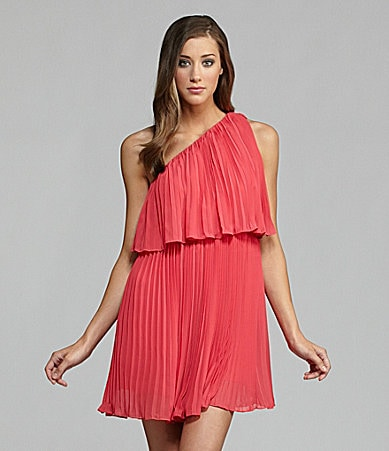 BCBGeneration One-Shoulder Pleat Swing Dress