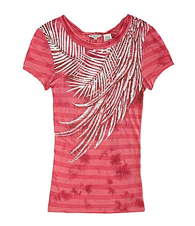 Miss Me Girls 7-16 Feather Leaf Graphic Striped Tee